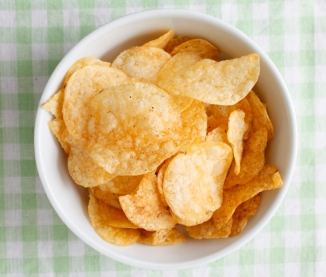 Potato chips in a bowl outside